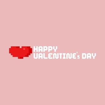 Cuore di pixel con testo di san valentino felice