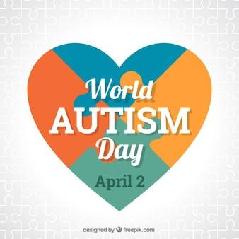 Cuore di puzzle autismo forma giorno backgroud