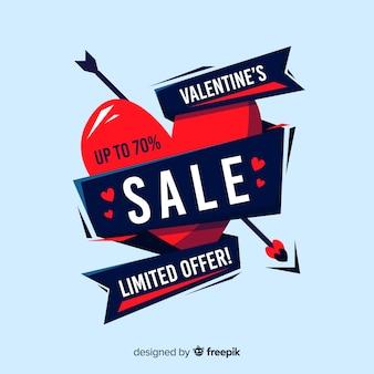 Cuore di vendita di san valentino con sfondo di nastro