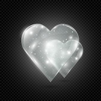Cuore di vetro e al neon su uno sfondo trasparente, illustrazione.