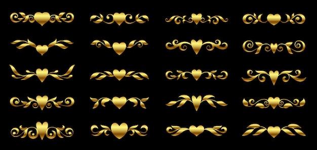 Cuore dorato e set di elementi floreali ornati
