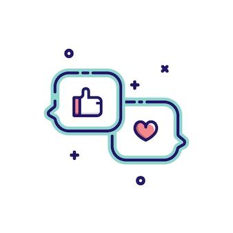 Cuore e come simbolo nelle icone del messaggio di bolla di discorso. illustrazione vettoriale