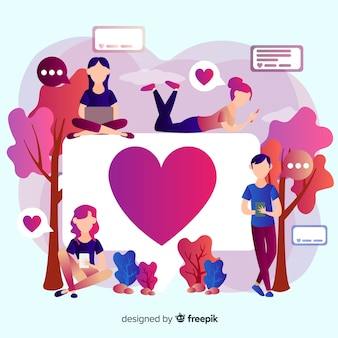 Cuore instagram. adolescenti sui social media. design del personaggio.