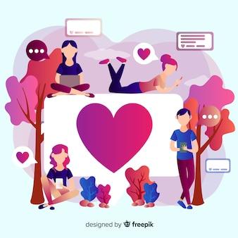 Cuore instagram. adolescenti sui social media. design del personaggio.