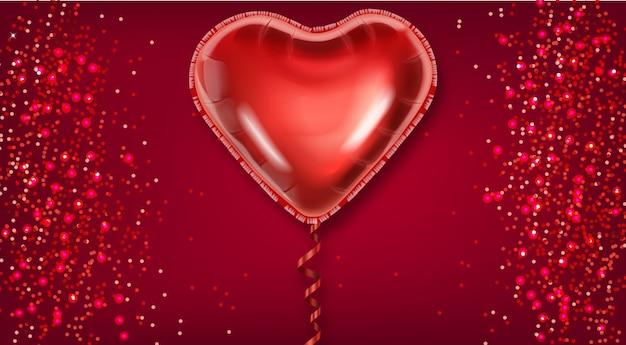 Cuore palloncino rosso su sfondo glitter