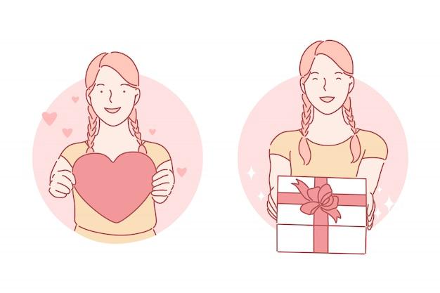 Cuore, regalo, concetto stabilito di compleanno