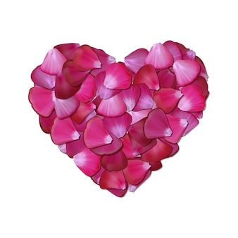 Cuore rosa di petali