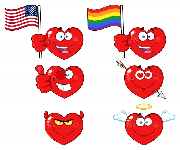Cuore rosso cartoon emoji face character