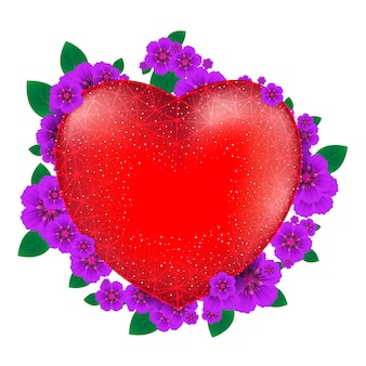 Cuore rosso con fiori per felice san valentino composto da poligoni e punti. illustrazione.