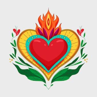 Cuore sacro colorato illustrato