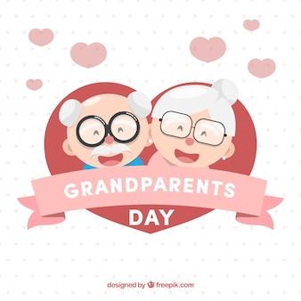 Cuore sfondo con felici nonni