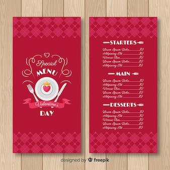 Cuore sul modello di menu di san valentino piatto