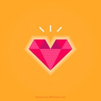 Cuore wih sfondo forma di diamante