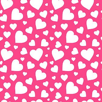 Cuori bianchi sul modello senza cuciture rosa di san valentino