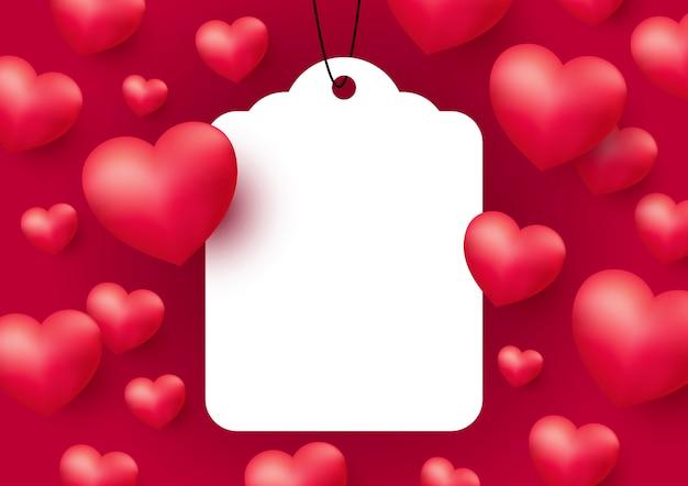 Cuori con tag bianco vuoto per san valentino