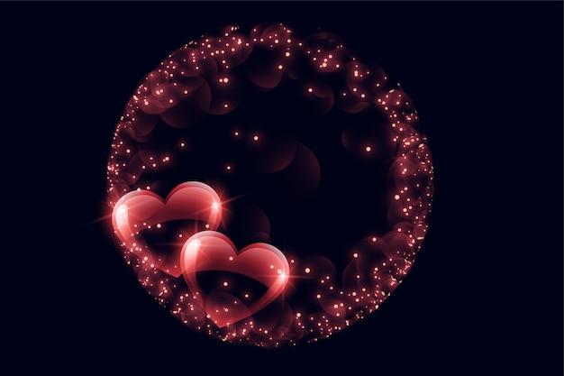 Cuori di bolla lucidi creativi con cornice scintilla