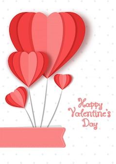 Cuori di carta amore formando un paracadute, happy valentines day card design.