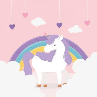Cuori di unicorno appesi nuvole arcobaleno fantasia magica sogno carino fumetto illustrazione