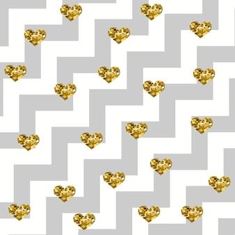 Cuori dorati scintillanti su un motivo a zigzag diagonale