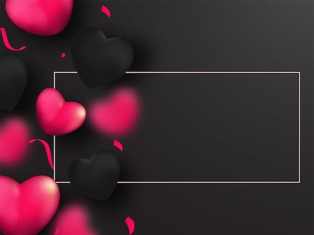 Cuori rosa e neri decorati su sfondo