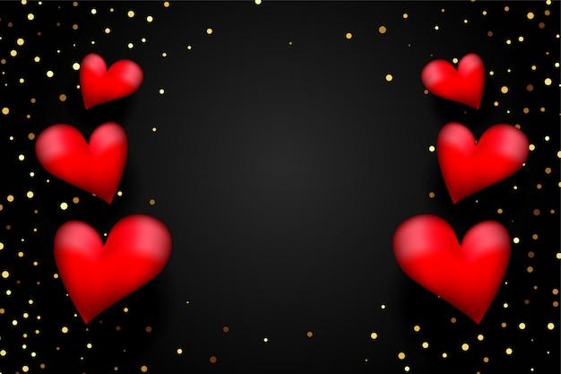 Cuori rossi 3d con coriandoli dorati su sfondo nero