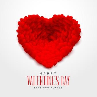 Cuori rossi 3d per felice giorno di san valentino