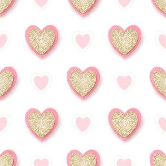 Cuori scintillanti dorati realistici e rosa su bianco, elementi disegnati a mano, fondo senza cuciture.