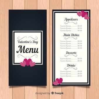 Cuori sul modello di menu di san valentino angoli