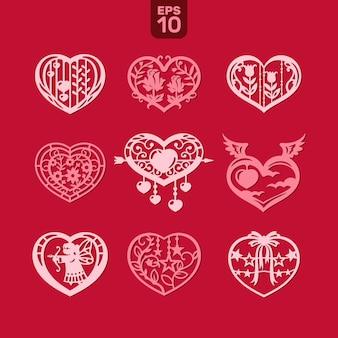 Cuori vettoriali impostato per matrimonio e san valentino