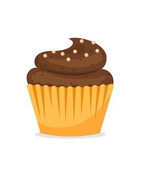 Cupcake al cioccolato su bianco