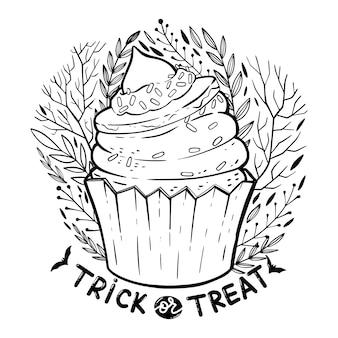 Cupcake di halloween con crema, cappello da strega, frase scritta: dolcetto o scherzetto e elementi floreali decorati.
