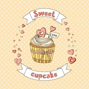 Cupcake dolce vettoriale su sfondo delicato