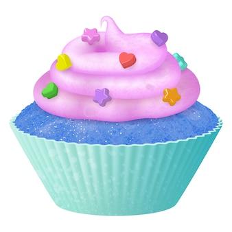 Cupcake realistico di vettore, muffin con crema