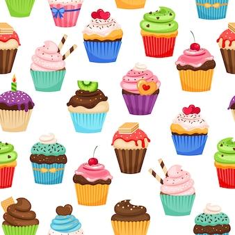 Cupcakes al cioccolato con praline e ciliegia vector seamless per la decorazione del regalo vacanza