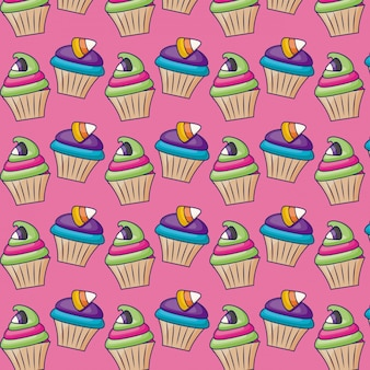 Cupcakes dolci con motivo a caramelle