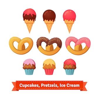 Cupcakes, pretzels e gelato