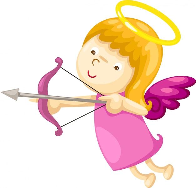 Cupido con illustrazione di arco e freccia