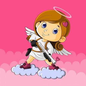 Cupido moderno, non usa di nuovo la freccia per sparare all'amore, ma con il fucile per sparare all'amore, volando nella nuvola, disegnato a mano