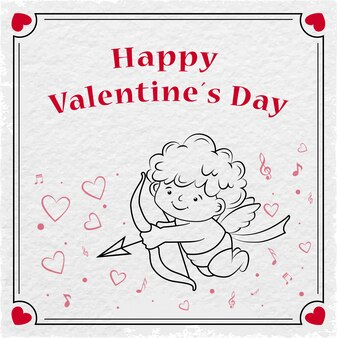 Cupido si congratula per il giorno di san valentino