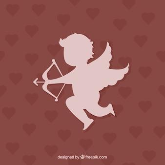 Cupido silhouette su sfondo di cuori