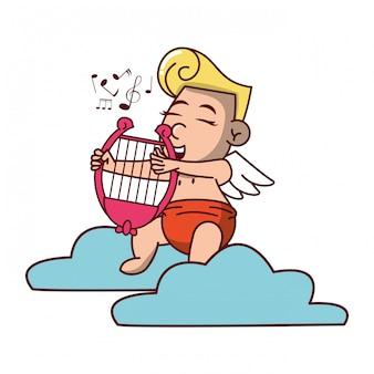 Cupido su nuvola con arpa