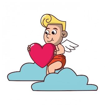Cupido su nuvola con cuore