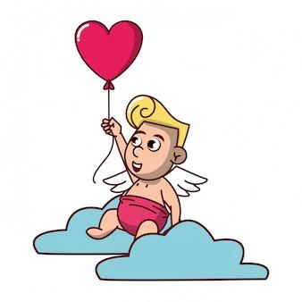Cupido su nuvola con palloncino a forma di cuore