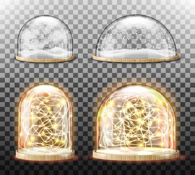 Cupola di vetro con neve realistica