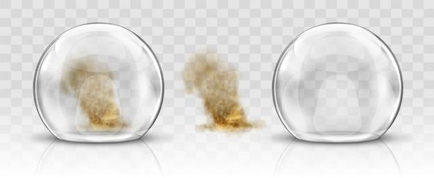 Cupola di vetro o sfera e tempesta di sabbia realistiche