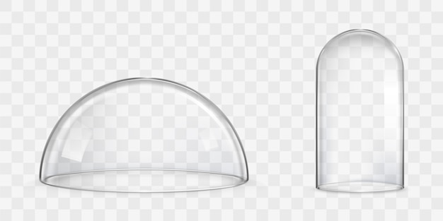 Cupola di vetro sferica, vettori realistici di campana di vetro