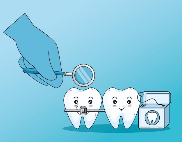 Cura dei denti con filo interdentale e dentale
