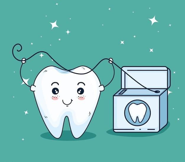 Cura dei denti con filo interdentale