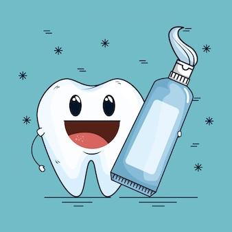 Cura dei denti con lo strumento dentifricio