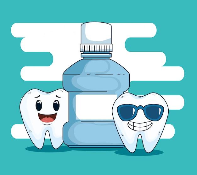 Cura dei denti dentali con attrezzatura per collutorio